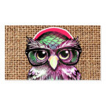 Cool  Colourful Tattoo Wise Owl With Funny Glasses Pack Of Standard Business Cards