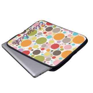 Cool colourful trendy girly bubbles polka dots laptop computer sleeves