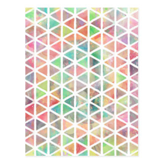 Cool colourful watercolor paint triangles postcard