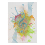 Cool colourful watercolour splatters music notes posters