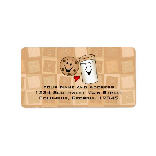Cool Cookies and Milk Friends Cartoon Address Labe Label