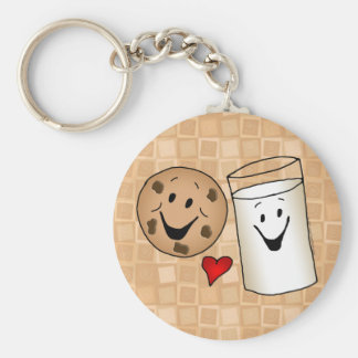 Cool Cookies and Milk Friends Cartoon Basic Round Button Key Ring