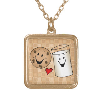 Cool Cookies and Milk Friends Cartoon Square Pendant Necklace
