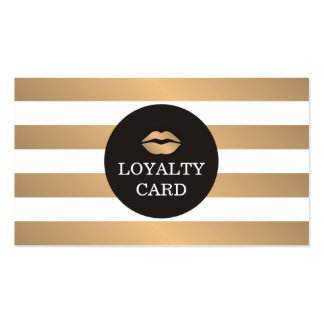 Cool Copper Striped Grey Makeup Loyalty Card Pack Of Standard Business Cards