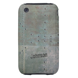 Cool Corroded Rusty Metal Look with Custom Name Tough iPhone 3 Cases