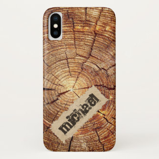Cool Cracked wooden ring torn paper monogram iPhone X Case