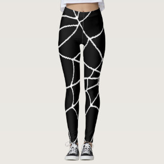 Cool Creepy Spiderweb Black and White Leggings
