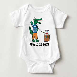 Cool Crocodile Listens to Music Baby Bodysuit