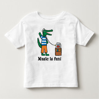 Cool Crocodile Listens to Music Toddler T-Shirt