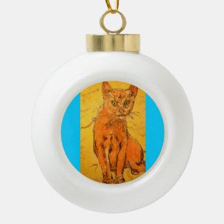 cool curious cat ornament