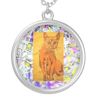 cool curious cat drip round pendant necklace