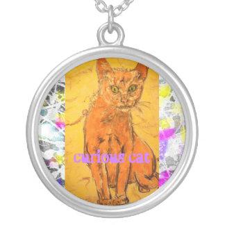 cool curious cat drip(slogan) round pendant necklace