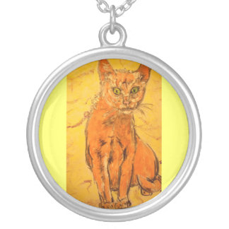 cool curious cat personalized necklace