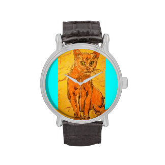 cool curious cat wrist watches