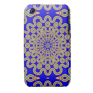Cool Curly pattern on Kings Blue Case-Mate iPhone 3 Cases
