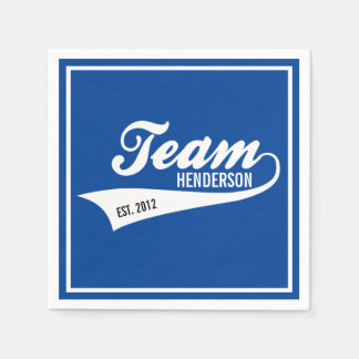 Cool Custom Family Team Name Retro Sports Logo Paper Napkin