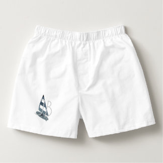 Cool Custom Sailor Sailing  Add Initials Blue Boxers