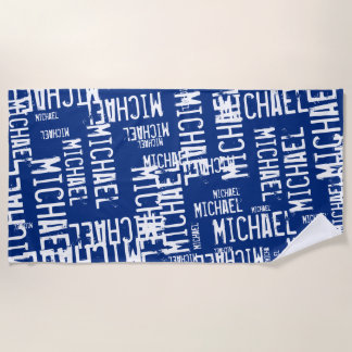 cool&custom typography white names on navy blue beach towel