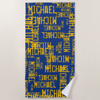 cool&custom typography yellow names on blue beach towel