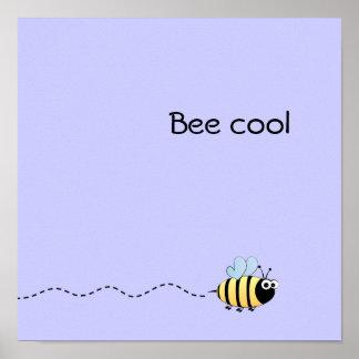 Cool cute bee cartoon pun purple poster