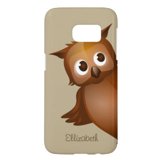 Cool Cute Custom Name Funny Cartoon Owl Monogram