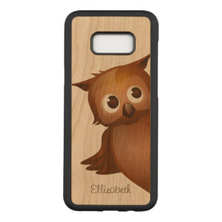 Cool Cute Custom Name Funny Cartoon Owl Monogram Carved Samsung Galaxy S8+ Case
