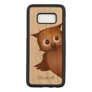 Cool Cute Custom Name Funny Cartoon Owl Monogram Carved Samsung Galaxy S8 Case