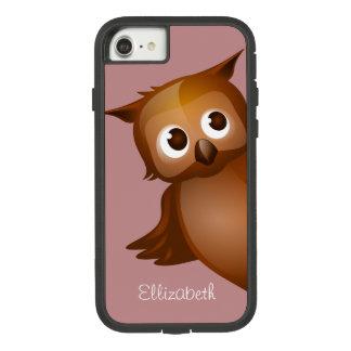 Cool Cute Custom Name Funny Cartoon Owl Monogram Case-Mate Tough Extreme iPhone 8/7 Case
