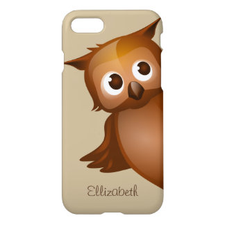 Cool Cute Custom Name Funny Cartoon Owl Monogram iPhone 8/7 Case
