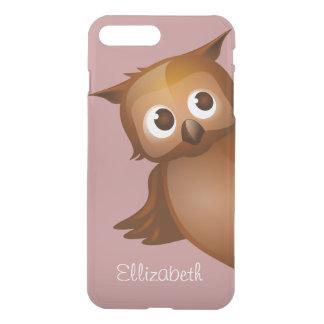 Cool Cute Custom Name Funny Cartoon Owl Monogram iPhone 8 Plus/7 Plus Case