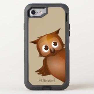 Cool Cute Custom Name Funny Cartoon Owl Monogram OtterBox Defender iPhone 8/7 Case
