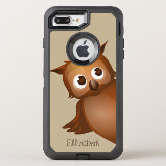 Cool Cute Custom Name Funny Cartoon Owl Monogram OtterBox Defender iPhone 8 Plus/7 Plus Case