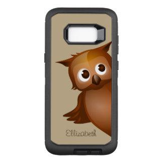 Cool Cute Custom Name Funny Cartoon Owl Monogram OtterBox Defender Samsung Galaxy S8+ Case