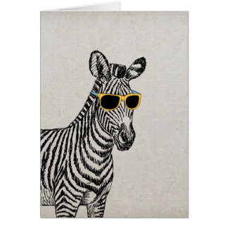 Cool cute funny zebra sketch with  trendy glasses greeting card