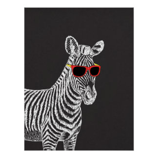 Cool cute funny zebra white sketch with glasses poster