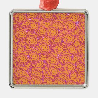 Cool cute girly swirls pink and orange SWIRLS08 Square Metal Christmas Ornament