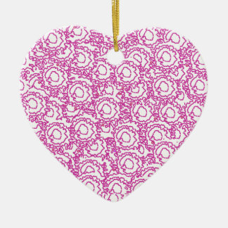Cool cute girly swirls pink and white SWIRLS09 Double-Sided Heart Ceramic Christmas Ornament