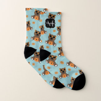 Cool cute Halloween bear and pumpkin Monogram Socks