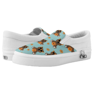 Cool cute Halloween bear and pumpkin pattern Slip On Shoes