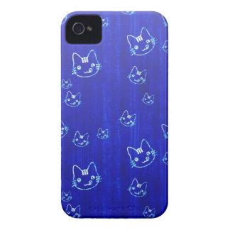 Cool cute japanese cat kitty neko indigo blue Case-Mate iPhone 4 case