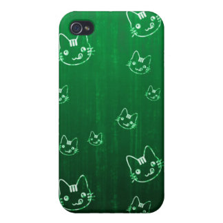Cool cute japanese green kitty cat neko pern cover for iPhone 4