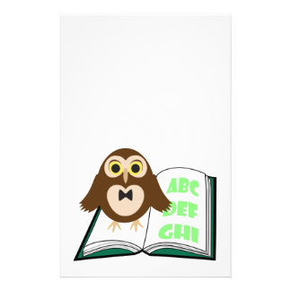 Cool Cute owl with Alphabet book Back to school Stationery