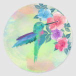 Cool cute trendy  watercolours hummingbird floral round sticker