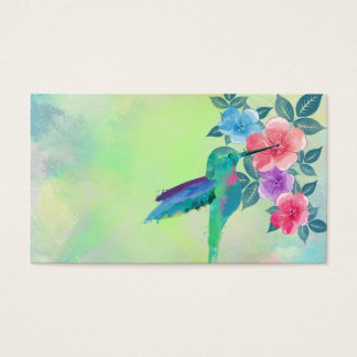 Cool cute vibrant watercolours hummingbird floral business card