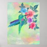 Cool cute vibrant watercolours hummingbird floral poster