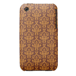 cool damask brown vintage pattern iPhone 3 cases