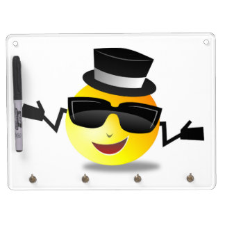 COOL DAPPER SMILEY DRY ERASE BOARD WITH KEY RING HOLDER