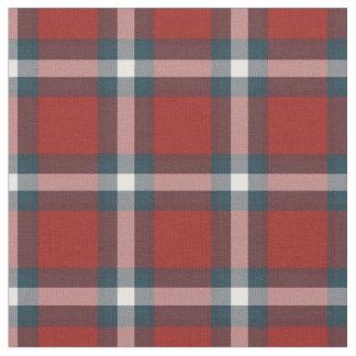 Cool Dark Blue White Red Lumberjack Plaid Pattern Fabric