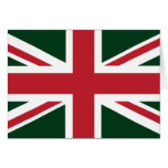 Cool Dark Green Red Union Jack British(UK) Flag Greeting Card