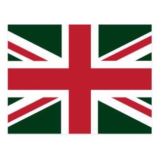 Cool Dark Green Red Union Jack British(UK) Flag Postcard